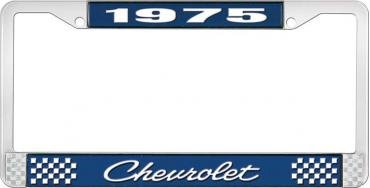 OER 1975 Chevrolet Style # 4 Blue and Chrome License Plate Frame with White Lettering LF2237504B