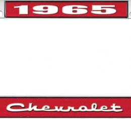 OER 1965 Chevrolet Style #2 Red and Chrome License Plate Frame with White Lettering LF2236502C