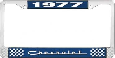 OER 1977 Chevrolet Style # 5 Blue and Chrome License Plate Frame with White Lettering LF2237705B