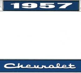 OER 1957 Chevrolet Style #2 Blue and Chrome License Plate Frame with White Lettering LF2235702B