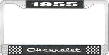 OER 1955 Chevrolet Style #2 Black and Chrome License Plate Frame with White Lettering LF2235502A