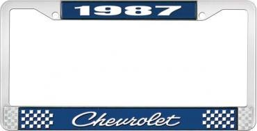 OER 1987 Chevrolet Style # 4 Blue and Chrome License Plate Frame with White Lettering LF2238704B
