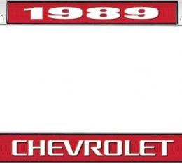 OER 1989 Chevrolet Style #3 - Red and Chrome License Plate Frame with White Lettering *LF2238903C