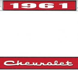 OER 1961 Chevrolet Style #2 Red and Chrome License Plate Frame with White Lettering LF2236102C