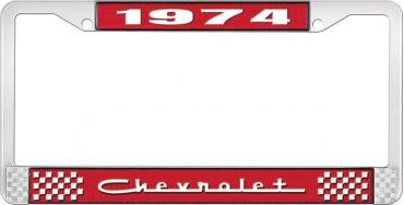 OER 1974 Chevrolet Style # 5 Red and Chrome License Plate Frame with White Lettering LF2237405C