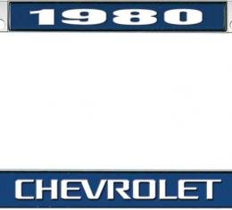 OER 1980 Chevrolet Style #3 - Blue and Chrome License Plate Frame with White Lettering *LF2238003B