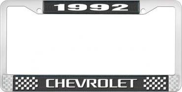OER 1992 Chevrolet Style # 3 Black and Chrome License Plate Frame with White Lettering LF2239203A