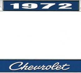 OER 1972 Chevrolet Style #4 - Blue and Chrome License Plate Frame with White Lettering *LF2237204B
