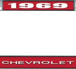 OER 1969 Chevrolet Style #1 - Red and Chrome License Plate Frame with White Lettering *LF2236901C