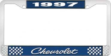 OER 1997 Chevrolet Style # 4 Blue and Chrome License Plate Frame with White Lettering LF2239704B