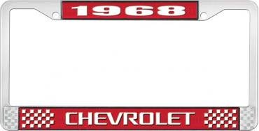 OER 1968 Chevrolet Style # 3 Red and Chrome License Plate Frame with White Lettering LF2236803C