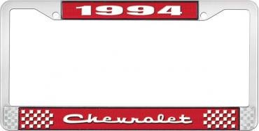 OER 1994 Chevrolet Style # 2 Red and Chrome License Plate Frame with White Lettering LF2239402C