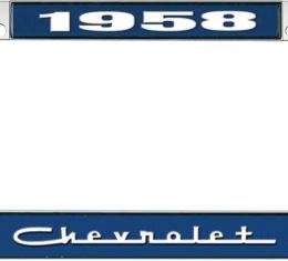 OER 1958 Chevrolet Style #5 Blue and Chrome License Plate Frame with White Lettering LF2235805B