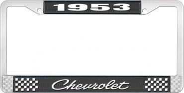 OER 1953 Chevrolet Style #4 Black and Chrome License Plate Frame with White Lettering LF2235304A