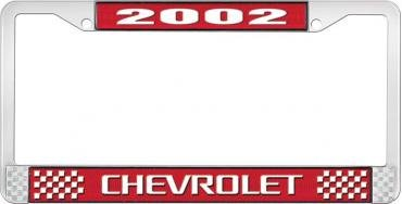 OER 2002 Chevrolet Style #3 - Red and Chrome License Plate Frame with White Lettering LF2230203C