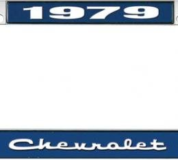 OER 1979 Chevrolet Style #2 - Blue and Chrome License Plate Frame with White Lettering *LF2237902B
