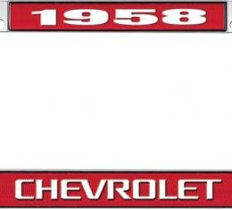 OER 1958 Chevrolet Style #3 Red and Chrome License Plate Frame with White Lettering LF2235803C