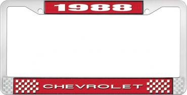 OER 1988 Chevrolet Style # 1 Red and Chrome License Plate Frame with White Lettering LF2238801C