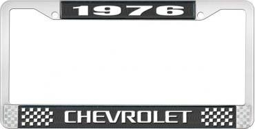 OER 1976 Chevrolet Style # 3 Black and Chrome License Plate Frame with White Lettering LF2237603A
