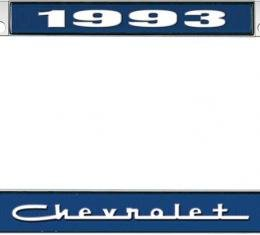OER 1993 Chevrolet Style #5 - Blue and Chrome License Plate Frame with White Lettering *LF2239305B