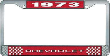 OER 1973 Chevrolet Style # 1 Red and Chrome License Plate Frame with White Lettering LF2237301C