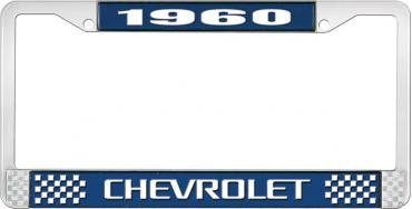 OER 1960 Chevrolet Style #3 Blue and Chrome License Plate Frame with White Lettering LF2236003B