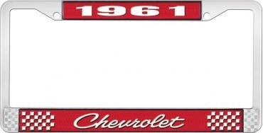 OER 1961 Chevrolet Style #4 Red and Chrome License Plate Frame with White Lettering LF2236104C