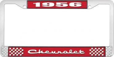 OER 1956 Chevrolet Style #2 Red and Chrome License Plate Frame with White Lettering LF2235602C