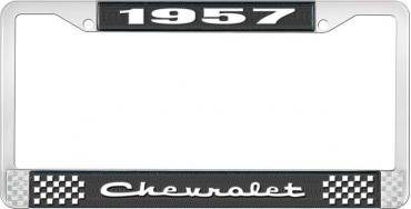 OER 1957 Chevrolet Style #2 Black and Chrome License Plate Frame with White Lettering LF2235702A