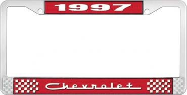 OER 1997 Chevrolet Style # 5 Red and Chrome License Plate Frame with White Lettering LF2239705C