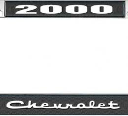 OER 2000 Chevrolet Style #2 Black and Chrome License Plate Frame with White Lettering *LF2230002A