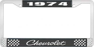 OER 1974 Chevrolet Style # 4 Black and Chrome License Plate Frame with White Lettering LF2237404A