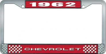 OER 1962 Chevrolet Style #1 Red and Chrome License Plate Frame with White Lettering LF2236201C