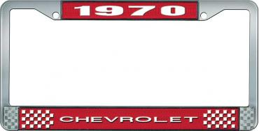 OER 1970 Chevrolet Style #1 - Red and Chrome License Plate Frame with White Lettering *LF2237001C
