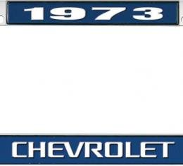 OER 1973 Chevrolet Style #3 - Blue and Chrome License Plate Frame with White Lettering *LF2237303B