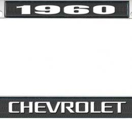 OER 1960 Chevrolet Style #3 Black and Chrome License Plate Frame with White Lettering LF2236003A