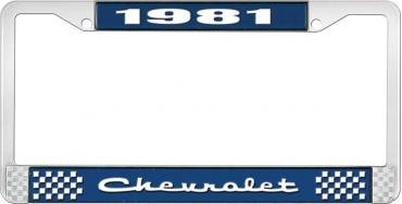 OER 1981 Chevrolet Style # 2 Blue and Chrome License Plate Frame with White Lettering LF2238102B