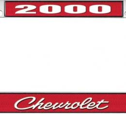 OER 2000 Chevrolet Style #4 - Red and Chrome License Plate Frame with White Lettering *LF2230004C