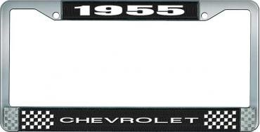 OER 1955 Chevrolet Style #1 Black and Chrome License Plate Frame with White Lettering *LF2235501A