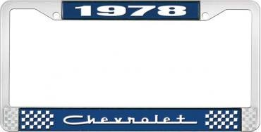 OER 1978 Chevrolet Style # 5 Blue and Chrome License Plate Frame with White Lettering LF2237805B