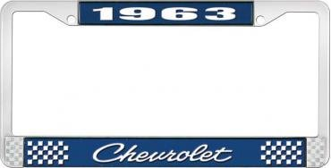 OER 1963 Chevrolet Style #4 Blue and Chrome License Plate Frame with White Lettering LF2236304B