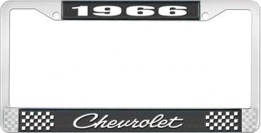 OER 1966 Chevrolet Style #4 Black and Chrome License Plate Frame with White Lettering LF2236604A