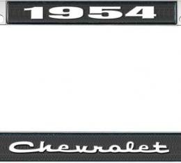 OER 1954 Chevrolet Style #2 Black and Chrome License Plate Frame with White Lettering LF2235402A