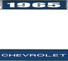 OER 1965 Chevrolet Style #1 Blue and Chrome License Plate Frame with White Lettering LF2236501B