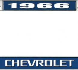 OER 1966 Chevrolet Style #3 - Blue and Chrome License Plate Frame with White Lettering *LF2236603B
