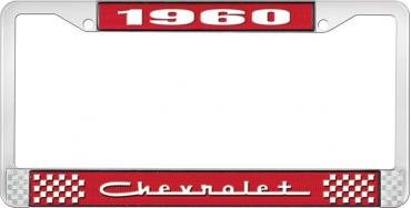OER 1960 Chevrolet Style #5 Red and Chrome License Plate Frame with White Lettering LF2236005C