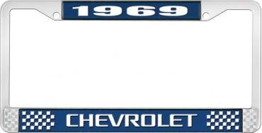 OER 1969 Chevrolet Style # 3 Blue and Chrome License Plate Frame with White Lettering LF2236903B