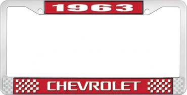 OER 1963 Chevrolet Style #3 - Red and Chrome License Plate Frame with White Lettering *LF2236303C