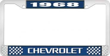 OER 1968 Chevrolet Style #3 Blue and Chrome License Plate Frame with White Lettering LF2236803B
