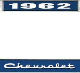 OER 1962 Chevrolet Style #2 Blue and Chrome License Plate Frame with White Lettering LF2236202B